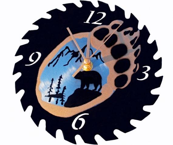Bear Paw Silhouette Saw Blade Wall Clock Type 1