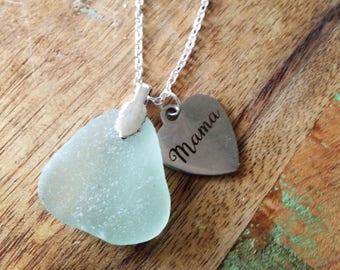 Seafoam sea glass mama necklace