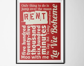 RENT - Musical Poster (PRINTABLE) - Instant Download - DIY