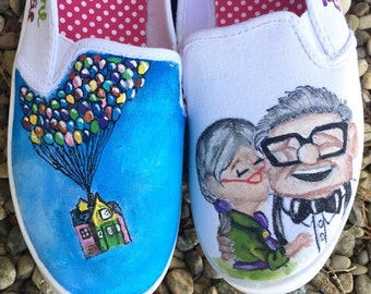 Disney inspired Up painted shoes