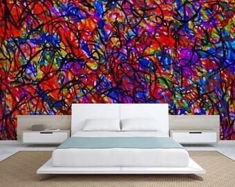 3D ABSTRACT MURAL, line art, art wall mural, self-adhesive vinly, wall mural abstract, wall decal abstract, color wall mural, abstract art