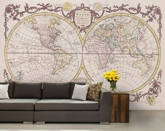 World Map Wallpaper, Antique World Map Wall Mural , Vintage Old Map, Self
