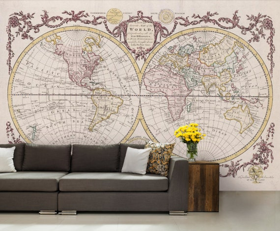 World map wallpaper antique world map wall mural vintage like this item gumiabroncs Choice Image