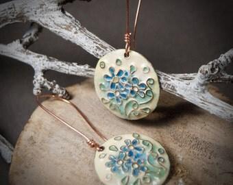 Glass enamel, Handmade Drop Earrings, blue flowers, pastel shades