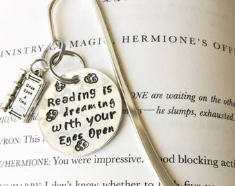 Hand Stamped Personalized Shepherds Crook Bookmark- reading is dreaming with your eyes open