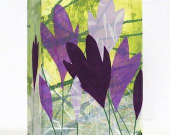 Flower wall art, abstract crocuses, mixed media, reclaimed wood block, spring flower art, floral decor, handmade original, gift for gardener