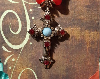 Beautiful Cross Necklace - Red/Silver Beads