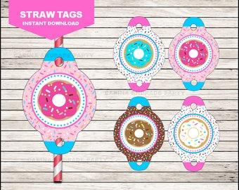 Donut Straw tags instant download, Donut Straw toppers, Donut Party Straw toppers