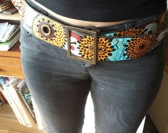Hand painted hipster belt, 36/38 ins approx