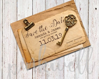 Vintage Key Save the Date - DIGITAL FILE