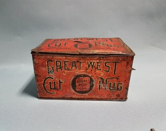 Great West Cut Plug Tobacco Tin