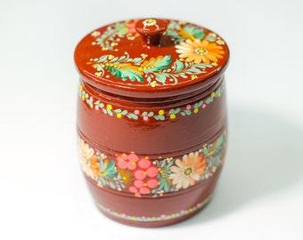 Barrel, Woodcraft, The Wooden Box, Sugar Bowl, Sugar Basin, Little Girl Jewelry Box, Ukrainian Folk Art, Petrykivka Flower Painting, Present