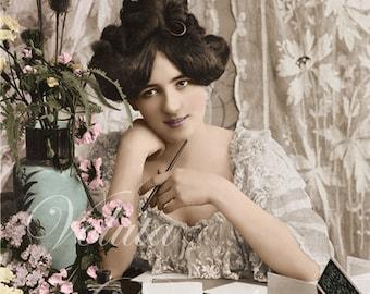 Pensive woman about to write a letter  -  Edwardian Vintage Postcard.