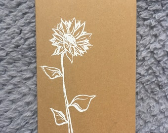 Sunflower Embossed Moleskin Plain Paper Journal