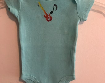 Hand Painted Guitar baby Body Suit