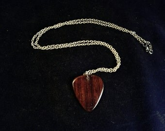 Brazilian Rosewood guitar pick necklace gloss