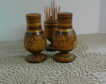 Solid Wood Hand Carved Salt and Pepper Shakers with Toothpick Holder