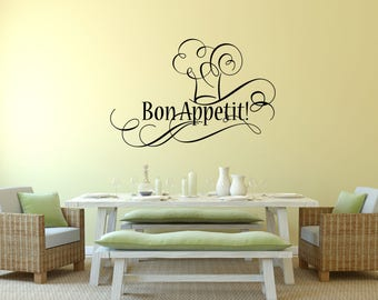 Bon Appetit with Chef Hat in the Middle Kitchen Vinyl Wall Quote
