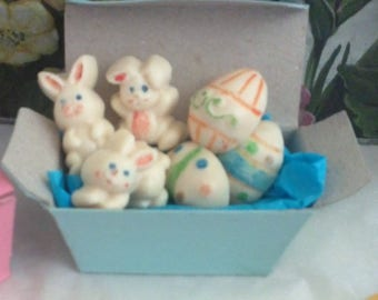 Easter chocolate bunnies and decorated eggs party favor box edible hand painted chocolates  5 boxes 6 pieces of chocolates in each box