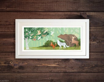 Woodland Animals - Illustrated Art Print. Wolves, Bears, Foxes, Deer and Owls? Oh my!