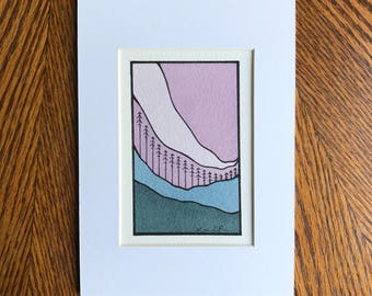 Abstract landscape, Abstract watercolor, Original painting, Small art, Minimal design, Pink sky, 5x7
