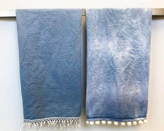 Bohemian Tea Towels *Denim* Ombre and Tie Dye with Poms and Fringe Emishment Blue