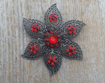 Dark Grey and Red Rhinestone Flower Brooch
