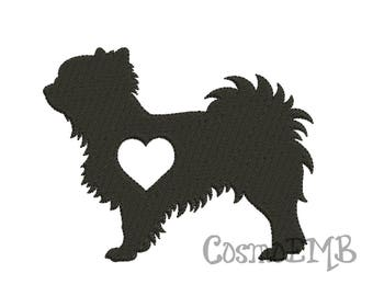 8 Size Long haired Chihuahua Silhouette Embroidery design Machine Embroidery -DOWNLOAD  Digital INSTANT