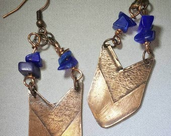 Blue and Chevron Earrings
