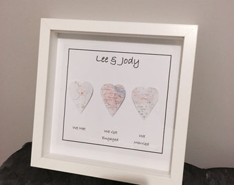 Personalised map heart picture, 'We met, we got engaged, we married' with frame