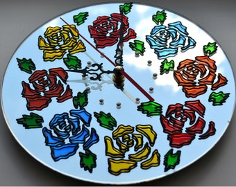 Rose Mirror Wall Clock.Stained glass wall clock.Floral wall clock.Unique wall clock.A gift for mom.Roses wall decor.Gift to the wife.