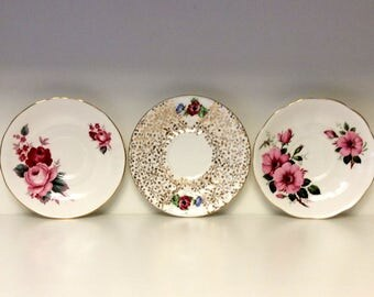Three Vintage Queen Anne Tea Cup Saucer Plates