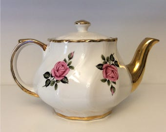 Sudlows Burslem Gold Trim Porcelain Teapot