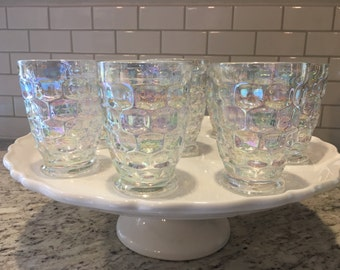 Vintage Set of 8 Glasses / Iridescent Glasses / Federal Way Thumbprint Glasses / Moon Glow / Mid Century Modern / Drink Ware / Dining /
