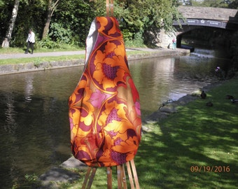 Upcycled Vintage fabric. fully lined beautiful slouch bag.