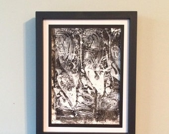 Gray and White Hearts on Black Background-Original Relief Print