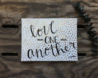 """Christian Wall Art, Mini Canvas """"Love One Another"""" Bible Inspired"""