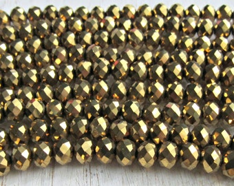 6mm gold crystal beads, Crystal Glass Beads, Rondelle beads, Crystal beads, beading supplies, faceted beads, metallic crystal, gold plated