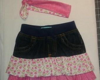 Ruffle and denim skirt little girl