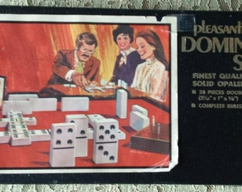 Vintage Domino set #1612 by Pleasantime Games, 28 pieces, Double Six set, Solid Opalene dominos in original box, no instructions