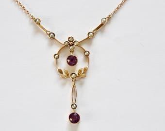 Antique Edwardian 9 carat/karat Amethyst and  Seed Pearl Lavaliere. Circa 1900-1920