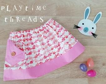 SUMMER CLEARANCE Bunny Rabbit Skirt,  Size 1 Girls Skirt, Girls Clothing,  Handmade,  Girls Clothes,  Pink Girls Skirts,  Toddler Skirts