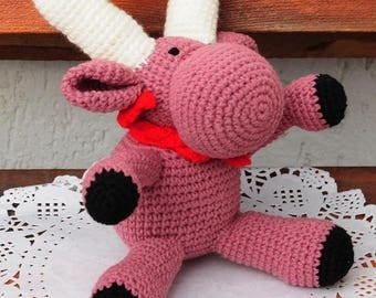 The deer amigurumi, handmade, knitted from threads, toy, decor