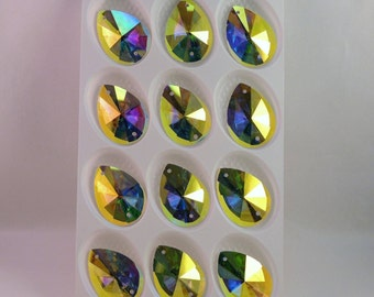 AB Tear-drop sew on glass crystals  18x25mm