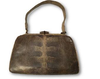 Vintage 50's Snakeskin Handbag, Snake Purse - Snake Bag