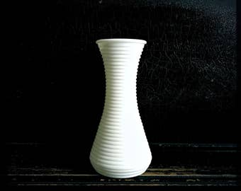 SALE - Vintage Milk Glass Vase | Textured Glass