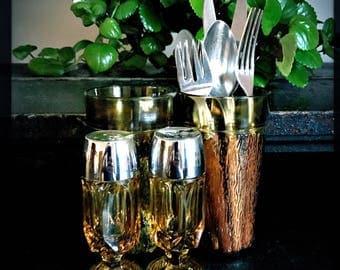 Vintage Dining Set For 2 | Bark Textured Drinking Glasses | Acadia Utensils | Anchor Salt And Pepper Shakers
