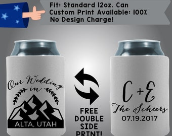 Our Wedding Mountains City State Initials Name Date Collapsible Fabric Wedding Cooler Double Side Print (W37)