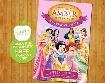 Disney princess invitation, princess invitation, Disney princess birthday, Disney princess Party, Disney princess, FREE Thank you Card!
