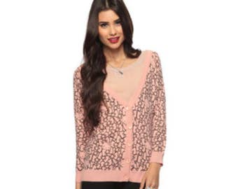 Forever 21 Hello Kitty Pink and black cardigan Sweater S
